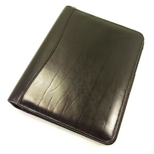 Day timer Black Leather Classic Desk Planner Daytimer Franklin Covey Open Binder