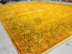 Vintage Blue Gold Overdyed Persian 9 X12 Handknotted Wool Pile Rug V 126