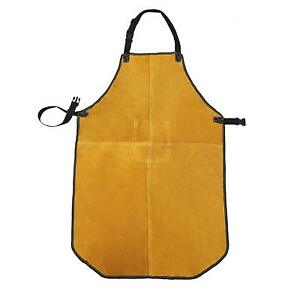 Mufly Welding Apron Yellow Split Cowhide Leather Bib Apron With Tool Pockets hea