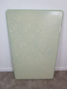 Vintage Enamel Metal Table Top White Porcelain Cabinet Green 40 By 25 In Retro
