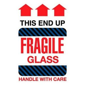 6 X 4 Fragile Glass This End Up Labels 500 Per Roll