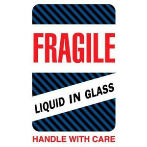 6 X 4 Fragile Liquid In Glass Handle With Care Labels 500 Per Roll
