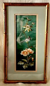 Vintage Chinese Silk Embroidery Panel Bird Flowers Art Double Mat Frame