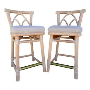 Vtg Pair Authentic Mcguire Curved Rattan Bamboo Counter Stools 25 Rawhide Brass