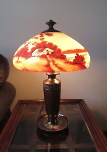Antique Arts Crafts Classique Bronze Lamp Reverse Painted Glass Shade Signed