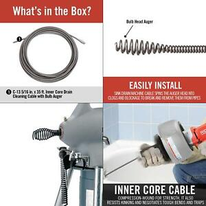 Ridgid Drain Cleaning Cable Bulb Auger Clog Remover 5 16 Inch X 35 Ft Inner Core