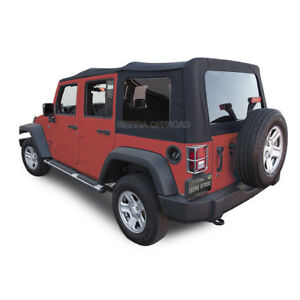 2007 2009 Jeep Wrangler 4 Dr Jk Soft Top Black Twill Vinyl