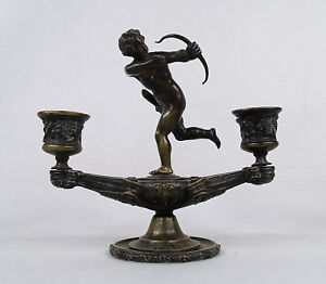 Antique Bronze Figural Candelabra Of A Cupid With Bow Sculpture 19 Century