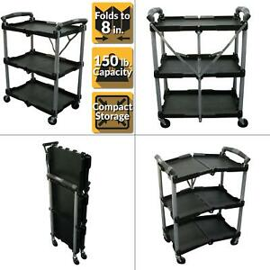 3 shelf Collapsible 4 wheeled Multi purpose Utility Cart In Black New