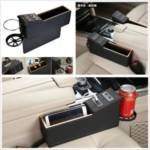 2 Pcs Car Seat Gap Phone Sundries Storage Box 4 Usb Charge Port Cup Drink Holder