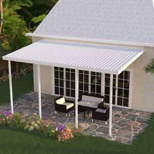 Integra 20 Ft X 10 Ft White Aluminum Attached Solid Patio Cover With 4 Posts