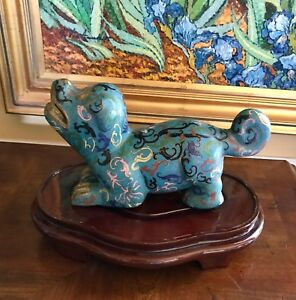 Splendid Old Qing Republic Chinese Cloisonne Foo Dog Lion Statue Figure Stand