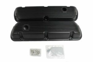Finned Black Coated Short Valve Covers For Small Block Ford Sbf 289 302 351w