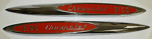 1957 Chevrolet Truck 1 2 Ton 3100 Front Fender Emblem Pair With Red Details