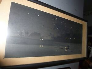 Takahashi Shotei Japanese Woodblock Print Starry Night