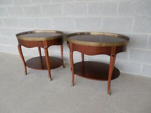 Baker French Louis Xv Style Brass Mounted With Gallery Accent End Tables Pair