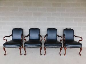 Quaker Furniture Regency Style Mahogany Library Arm Chairs A Set Of 4
