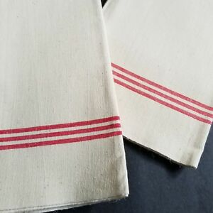 Vintage French Tea Towels Lot Of 2 Linen Farmhouse Cottage Red Stripe Torchon T5
