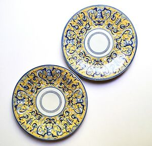 Pair Italian Majolica Plates Yellow Blue W Grotesques Early 20th C Antique