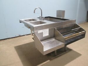 glas Tender Bartender Station W 10 Lines Cold Plate Ice Bin Speed Rail