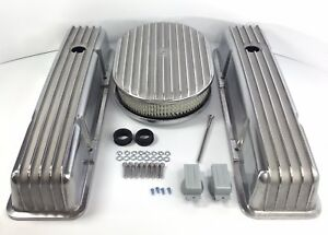 Small Block Chevy Finned Tall Valve Covers W 12 Oval Finned Air Cleaner sbc