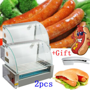 2xremovable Commercial 18 Hot Dog Hotdog 7 Roller Grill Cooker Machine gift Usa