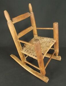 Antique Doll Chair Primitive Vintage Childs Rocking Rush Seat Display Hand Made