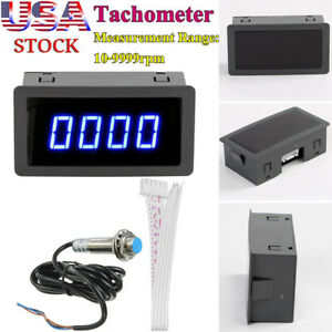 4 Digital Blue Led Tachometer Rpm Speed Meter Hall Proximity Switch Sensor Us