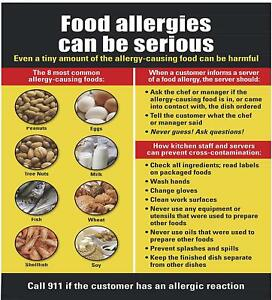 Food Allergies Sign aluminium Rust Free Commercial Use 14 25x15 75