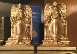 Vintage Jennings Brothers Bookends Lady Of The Theatre Art Deco Circa 1924