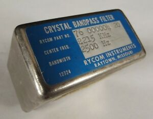 Crystal Bandpass Filter Rycom Instruments 76 000004 20 2215 Khz 2500 Hz Radio