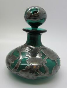 Antique Art Nouveau Teal Green Glass Perfume Bottle With Sterling Silver Overlay
