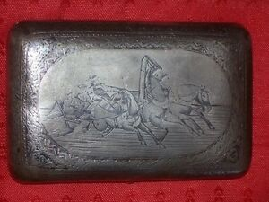 1890 Rare Box Monogram Silver 84 Russian Imperial Cigarette Case Antique Russia