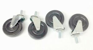80 3 In Soft Rubber Threaded Stem Swivel Caster Wheels