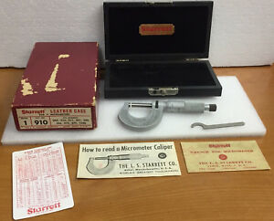 Vintage Starrett No R230rl 0 1 Micrometer W Wrench Leather Case Paperwork