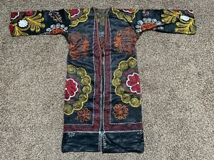 Vintage Antique Uzbek Silk Original Embroidery Suzani Robe Dress