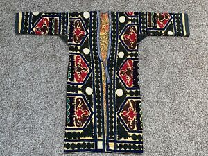 Handmade Uzbek Antique Vintage Original Embroidery Suzani Jacket Robe Dress