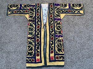 Yellow Uzbek Antique Original Handmade Embroidery Suzani Jacket Robe Dress