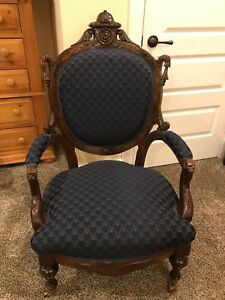 Antique Victorian Walnut Balloon Back Parlor Chair Blue Upholstery