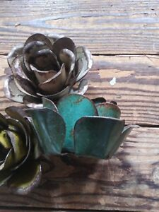 Recycled Metal Flower Candle Holders