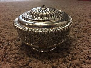 Fb Rogers Silverplate Candy Dish Bowl With Lid Broken Knob