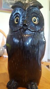 Distinctive Art Deco Style Tobacco Jar Figural Wood Carved Owl
