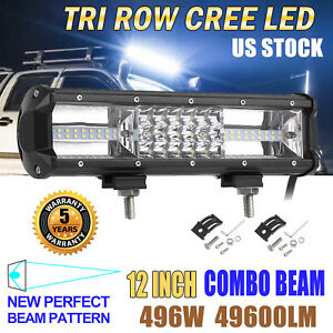 Led Work Light Bar 12 Inch 496w Flood Spot Combo Driving Lamp Car Truck Offroad