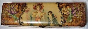 Antique Victorian Celluloid Mother Child Hanky Glove Dresser Box Case Unsigned