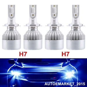4x H7 Cree Led Headlight 400w 12000k Blue Car Front Lamp For Volvo Vw Auid Benz