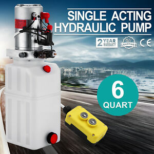 6 Quart Single Acting Hydraulic Pump Dump Trailer 12v Power Unit Unloading