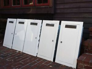5 Vtg Wall Mount Fire Extinguisher Cabinets Cast Metal F e Plates very Good