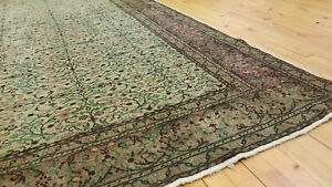 Hand Knotted Antique 1940 1950 S Sage Green Dye Wool Pile Hereke Area Rug 7x10ft