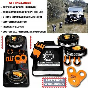 Recovery Kit Off Road Emergency Towing Recovery Winch For 4x4 Jeep Track Heavy D