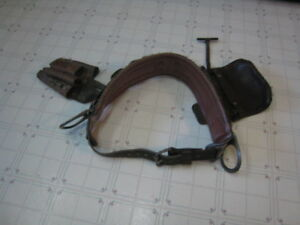 Buckingham Or Bashin Leather Linemans 2 Ring Pole Climbing Belt With Extras Nice